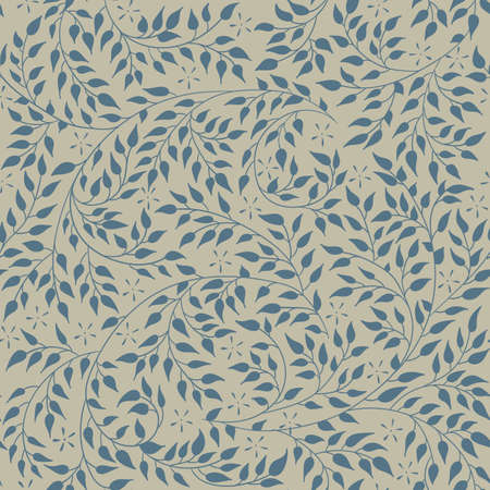 artnouveau: Floral seamless pattern - vector illustration of detailed blue ornament of plant twigs and curled branches on olive background