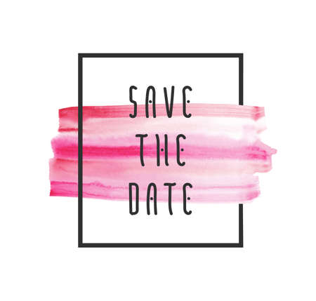 pink stripes: Save the date vector background for cards, hand drawn watercolor paint brush horizontal strokes - invitations, posters, cards template - peach pink stripes and flat line typographic elements. Illustration