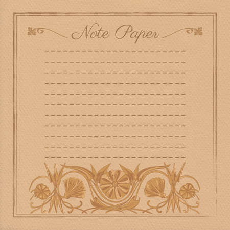 devider: Vector illustration of scrapbooking template for note paper with flower ornament Illustration