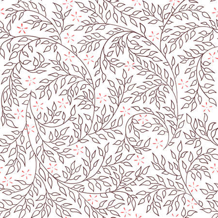 artnouveau: Floral seamless pattern - vector illustration of detailed coffee brown ornament of plant twigs and curled branches on white