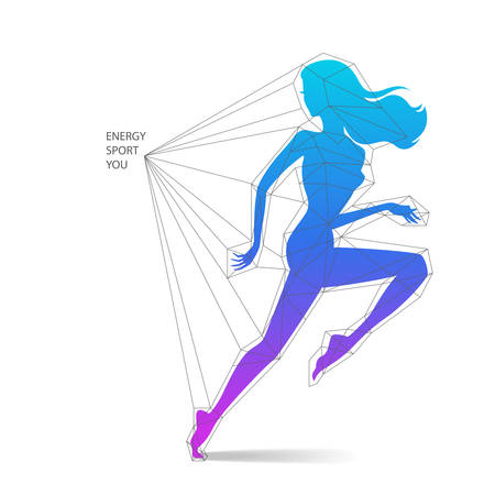 saxy: Vecto illustration of running woman silhouette with schematic lowpoly abstract web analysis isolated on white background - sport and fitness concept