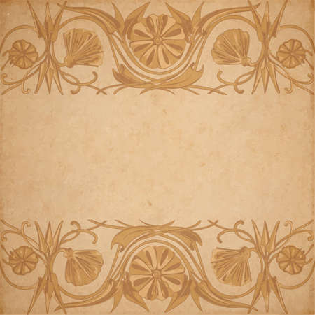 parchment paper: Vector illustration of scrapbooking parchment paper with flower ornament