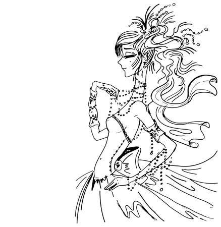saxy: Vector wedding invitation background template, hand drawn beautiful bride in gorgeous dress.