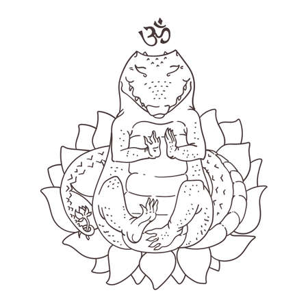 sitting meditation: Vector illustration of cute alligator sitting in yoga meditation pose, coloring book page with animal sitting in lotus flower, black outline drawing isolated on white
