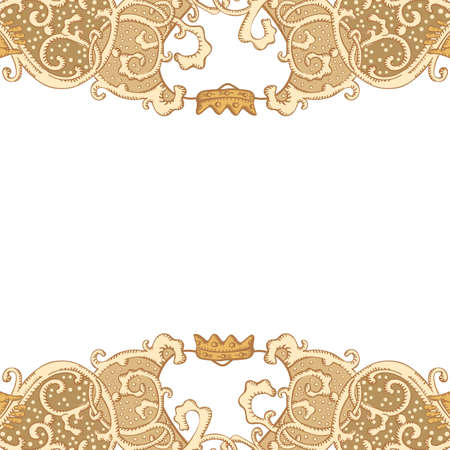 crowned: Vintage vector wedding stationery background with medieval ornament, heart and Cluddah irish hands