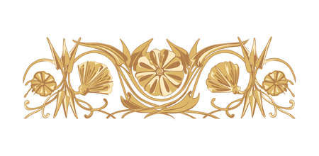 devider: Vector flower ornament in ancient eastern style isolated on white Illustration