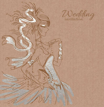 saxy: Vector wedding invitation template, hand drawn beautiful bride in gorgeous silver dress on brown paper background