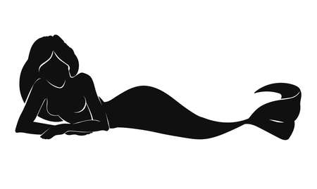 Vecto illustration of woman mermaid silhouette laying isolated on white background Illustration