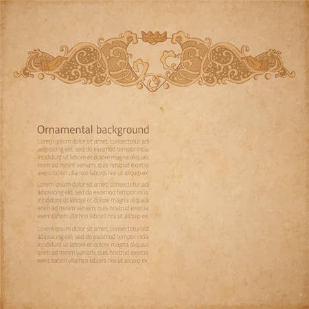 crowned: Vintage vector wedding stationery background with heart
