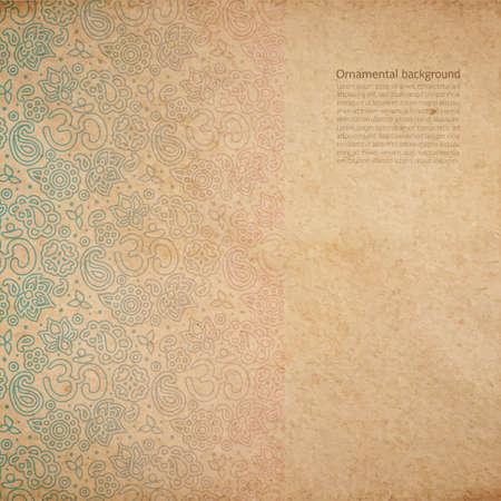 ベクトル OM サイン飾りとヴィンテージの古い紙テクスチャ、手描きで装飾的な背景がフェードアウト枠塗装