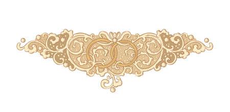 devider: Vintage vector wedding medieval ornament with rings Illustration