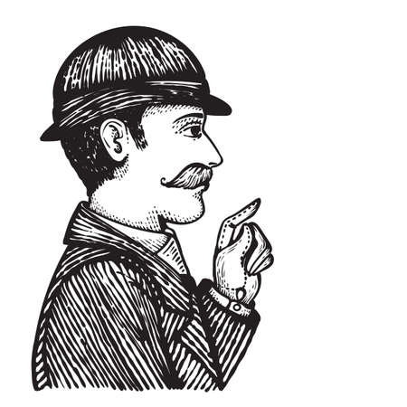 white coat: Vector illustration of vintage engraved man in bowler hat and coat pointing at something with his hand, isolated on white.