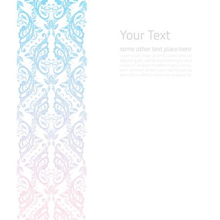 light pink: Vector ornate border boho background with copy space isolated on white
