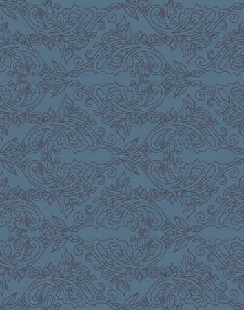 artnouveau: Floral seamless pattern - vector illustration of detailed ornament of floral twigs and curled branches in blue colors