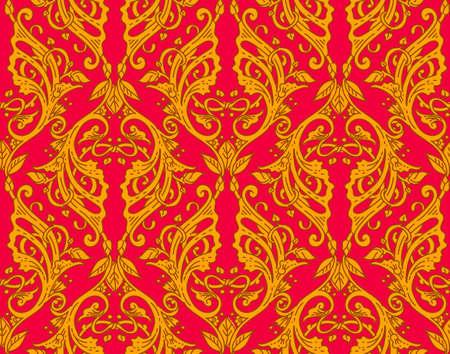 victorian wallpaper: Vector illustration of vintage victorian ornate wallpaper with folk bright background ornament