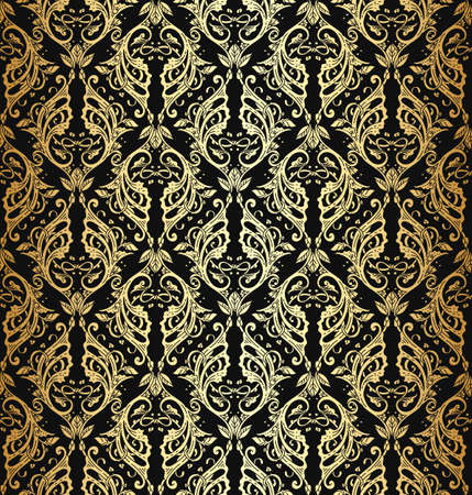 rich wallpaper: Vector illustration of vintage victorian ornate wallpaper with luxury rich metallic ornament