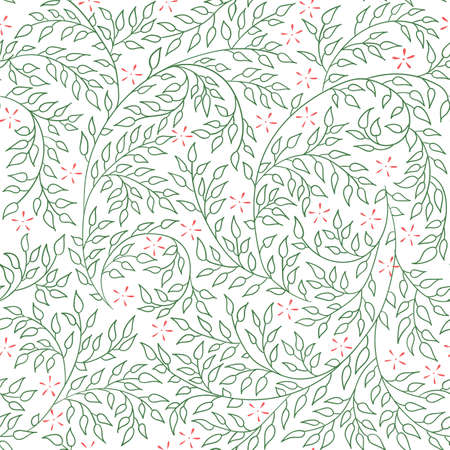 curled: Floral seamless pattern - vector illustration of detailed green ornament of plant twigs and curled branches