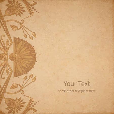 artnouveau: Vector illustration of scrapbooking parchment paper with egypt ornament