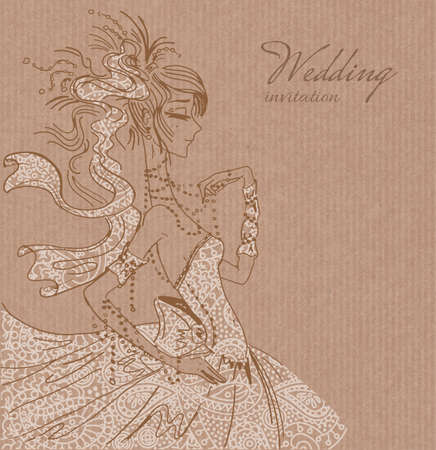 copy spase: Vector wedding invitation template, hand drawn beautiful bride in gorgeous white lace dress on brown paper background