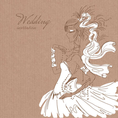 saxy: Vector wedding invitation template, hand drawn beautiful bride in gorgeous white dress on brown paper background