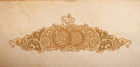 artnouveau: Vintage vector wedding medieval ornament with rings Illustration