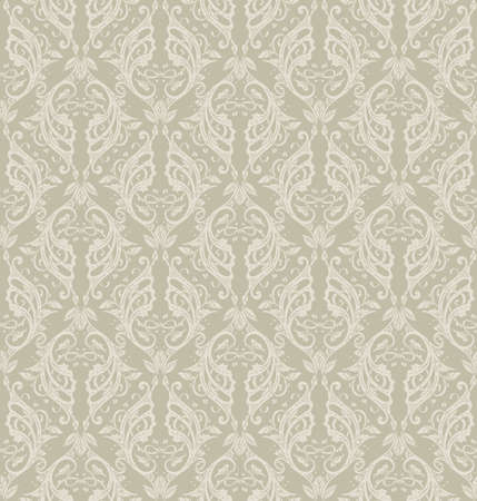 Floral seamless pattern - vector illustration of detailed ornament of floral twigs and curled branches in beige and ivory colors
