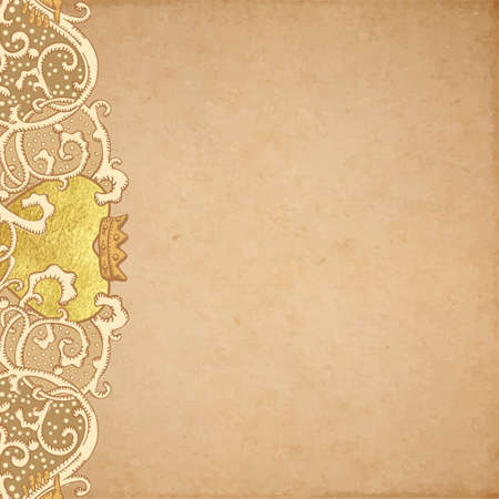 artnouveau: Vintage vector wedding stationery background with medieval ornament, golden metallic paint heart and Cluddah irish hands on old parchment Illustration