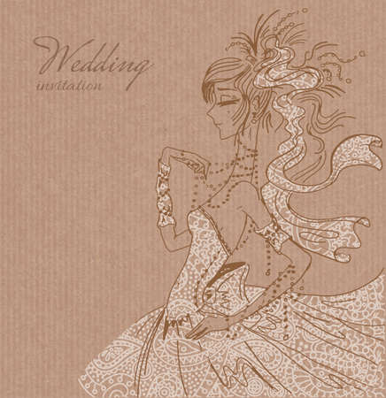 saxy: Vector wedding invitation template, hand drawn beautiful bride in gorgeous white lace dress on brown paper background