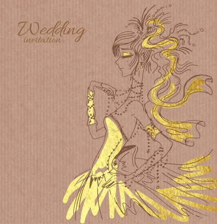 copy spase: Vector wedding invitation template, hand drawn beautiful bride in gorgeous golden dress on brown paper background Illustration