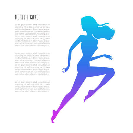 sporty: Vecto illustration of running woman silhouette with schematic lowpoly abstract web analysis isolated on white background - sport and fitness concept