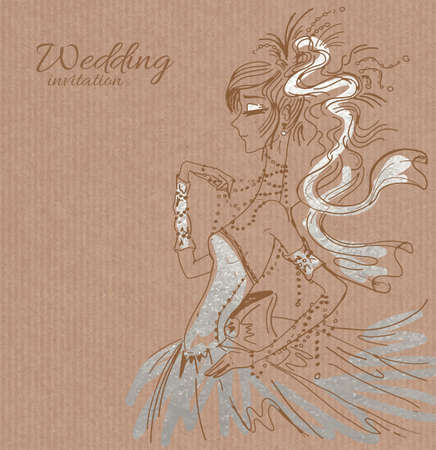 copy spase: Vector wedding invitation template, hand drawn beautiful bride in gorgeous silver dress on brown paper background