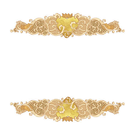 crowned: Vintage vector wedding stationery background with medieval ornament, golden metallic paint heart and Cluddah irish hands
