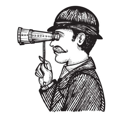 Vector illustration of engraved criminal or secret spy - danger villain looking for private information and web virus hacking concept. A vintage man looking through binoculars. Illustration