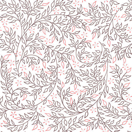 Floral seamless pattern - vector illustration of detailed coffee brown ornament of plant twigs and curled branches on white