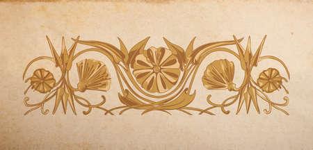 devider: Vector floral ornament on parchmant paper background Illustration