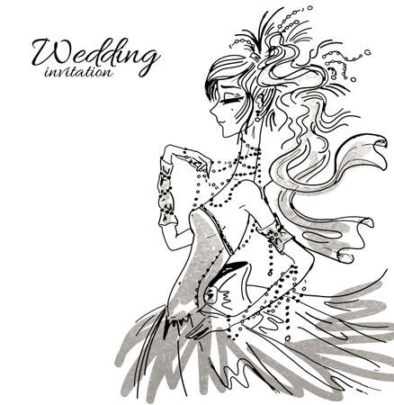 copy spase: Vector wedding invitation background template, hand drawn beautiful bride in gorgeous dress.