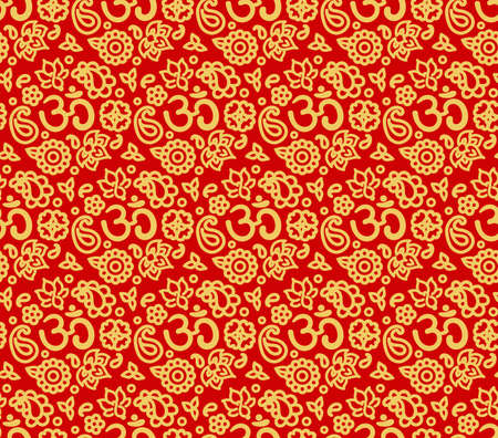 Vector seamless bright boho paisley OM texture for cards, fabric and design Vector Illustration