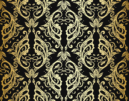 victorian wallpaper: Vector illustration of vintage victorian ornate wallpaper with luxury rich metallic ornament