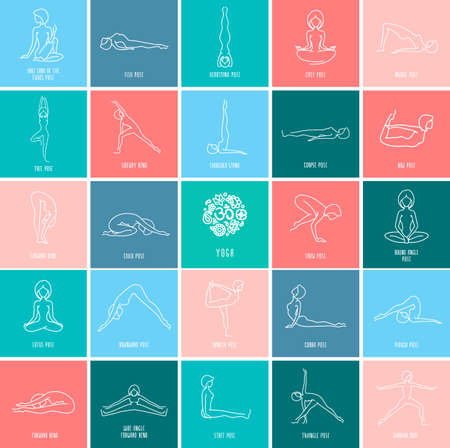 Yoga pose flat line icons set, simple signs of people in popular asanas, white outline logo isolated on color backgrounds - vector design elements