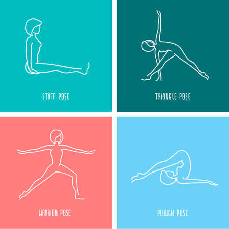 asanas: Yoga pose flat line icons set, simple signs of people in popular asanas, white outline logo isolated on color backgrounds - vector design elements