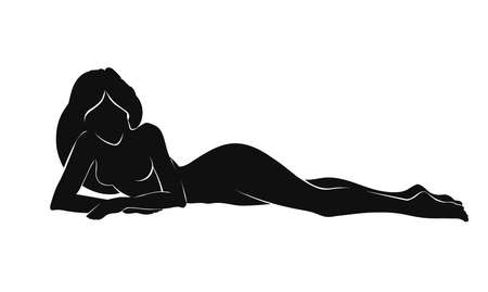 naked woman  white background: Vecto illustration of woman silhouette laying isolated on white background