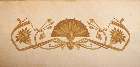 devider: Vector ornament in egyptian style on parchmant paper background