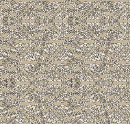artnouveau: Floral seamless pattern - vector illustration of detailed ornament of floral twigs and curled branches in beige and ivory colors
