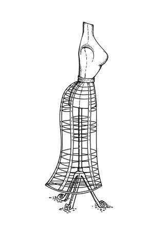 Vector hand drawn sketch of Victorian vintage mannequin for dressing studio, retro object isolated on white