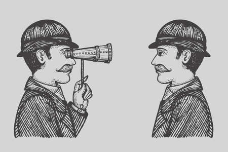 Vector illustration of engraved gentlemen - danger villain searching for private information concept as a vintage men looking through binoculars to each other.
