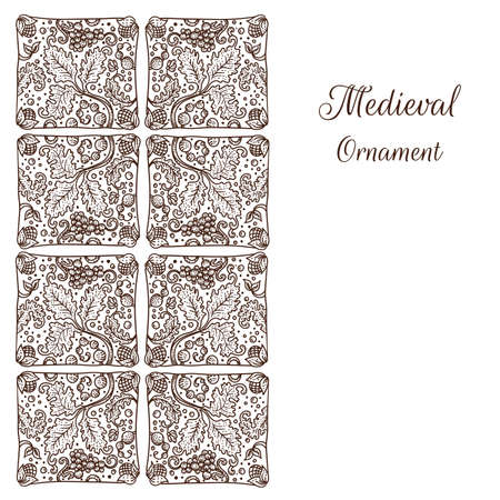 Vector medieval style ornate background card with Holland traditional tiles ornaments with grapes vector illustration. Illustration
