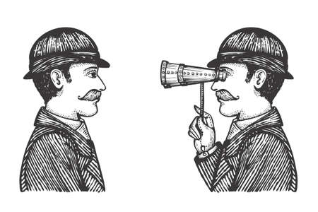 Vector illustration of engraved gentlemen - detective makes investigation searching for information concept as one vintage man looking through binoculars to another. Illustration