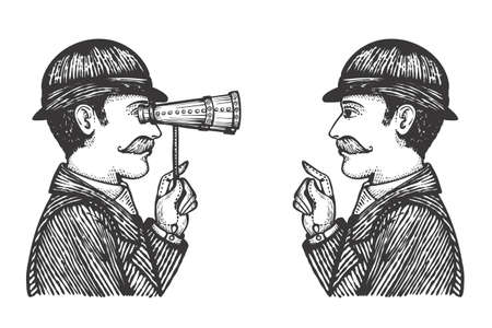 Vector illustration of engraved gentlemen - detective makes investigation searching for information concept as one vintage man looking through binoculars to another. Banco de Imagens - 69256648