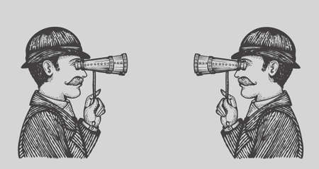 Vector illustration of engraved secret spies - danger villains searching for private information concept as a vintage men looking through binoculars on each other.