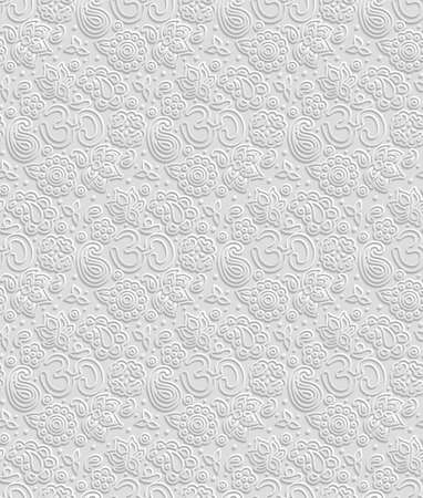 3d om: Vector paper 3D OM seamless pattern - volume shadows cut out calm effect as endless tile ornament for yoga, zen and meditation topic Illustration